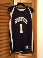 ITEM#5-$60 Official Southfield High #1  Reversible  Navy/White  Basketball Jersey   Alleson Athletic Brand  Size M-42