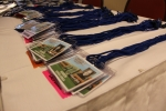 Many name badges waiting to be worn by Southfield High School alumni.